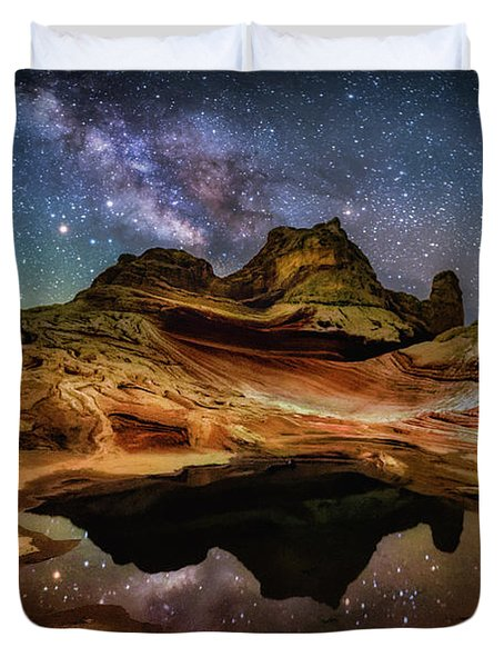 White Pockets Milky Way Duvet Cover