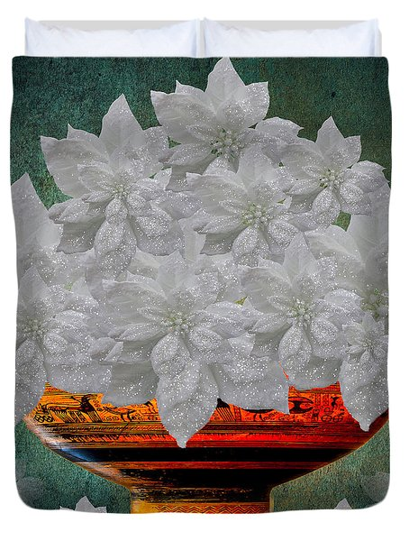 White Poinsettias In A Bowl Duvet Cover by Saundra Myles