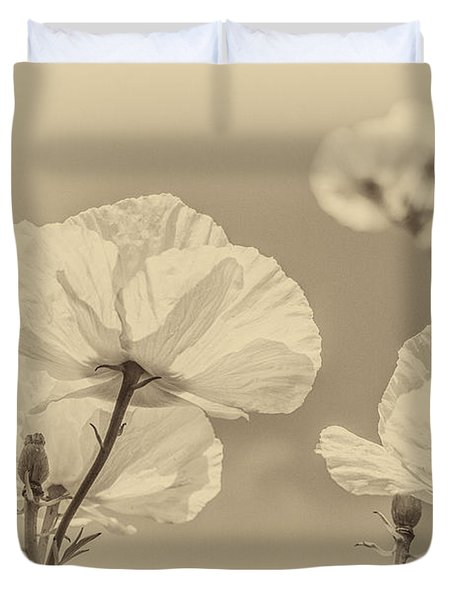 White Poppies In Sepia Duvet Cover