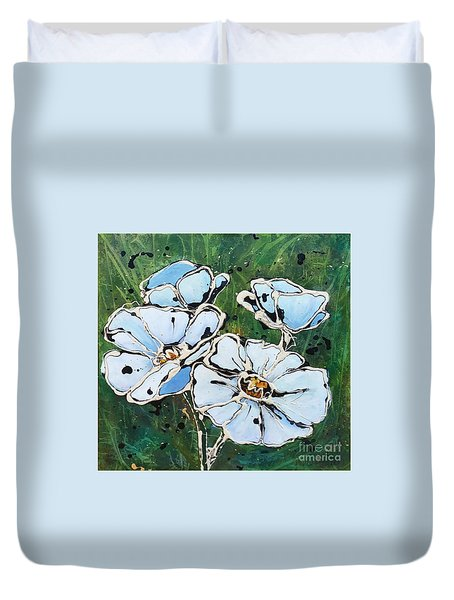 White Poppies Duvet Cover