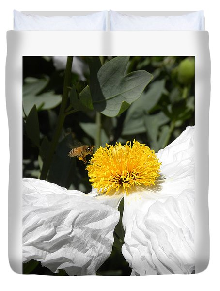 White Poppy Duvet Cover