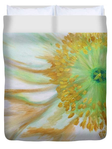 White Poppy Duvet Cover