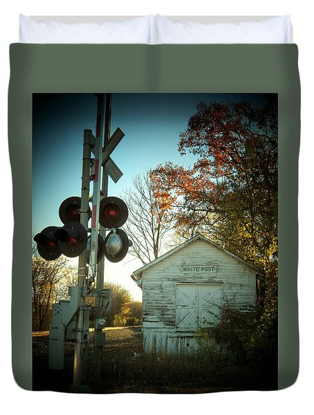 White Post Station Duvet Cover