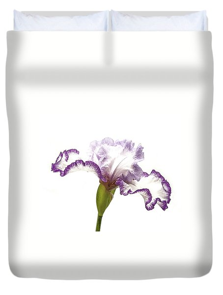 White Purple Iris Duvet Cover