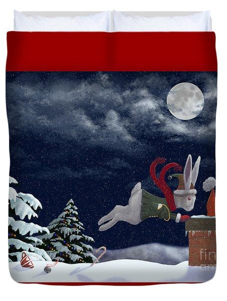 White Rabbit Christmas Duvet Cover by Audra Lemke
