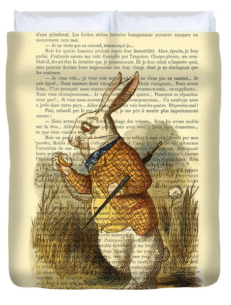 White Rabbit, I Am Late, I Am Late, For A Very Important Date Duvet Cover