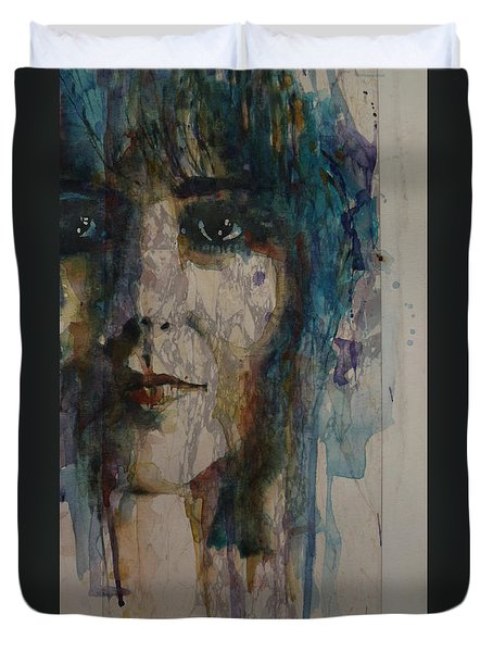 Duvet Cover featuring the painting White Rabbit by Paul Lovering