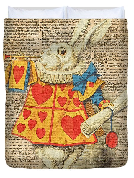 White Rabbit With Trumpet Alice In Wonderland Vintage Dictionary Artwork Duvet Cover
