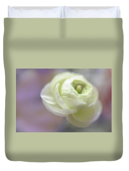 Duvet Cover featuring the photograph White Ranunculus Bud by Jenny Rainbow