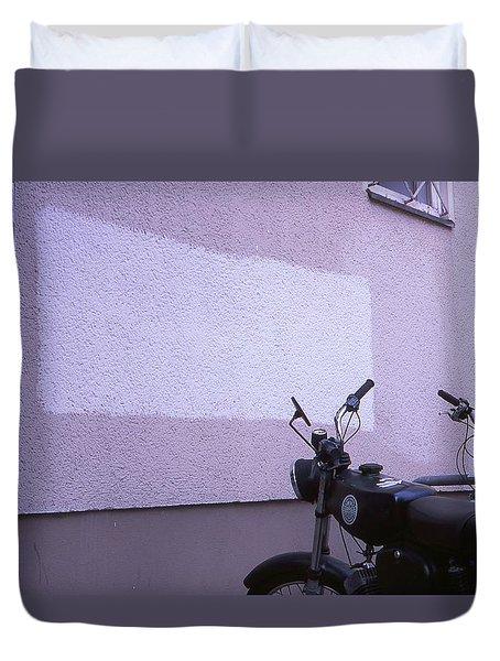 White Rectangle And Vintage Bikes Duvet Cover