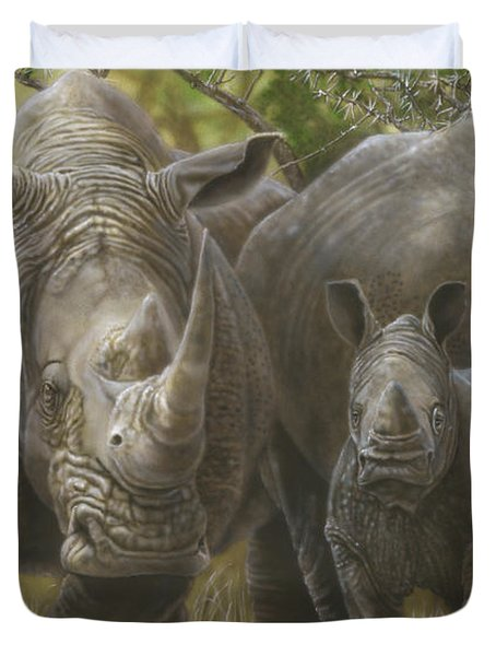 White Rhino Family - The Face That Only A Mother Could Love Duvet Cover