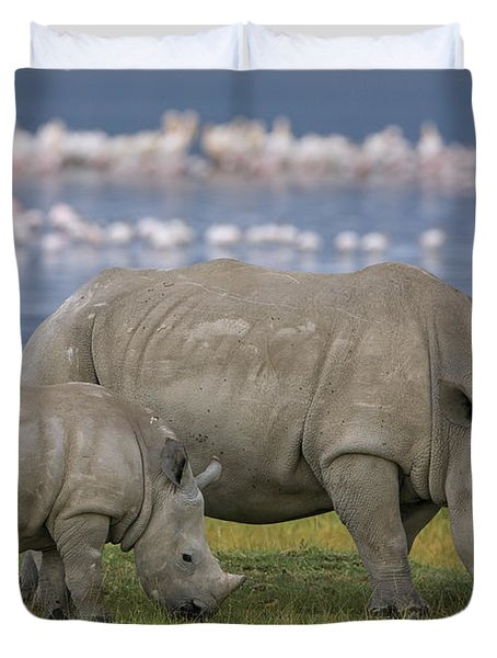 White Rhino Mother And Calf Grazing Duvet Cover by Ingo Arndt