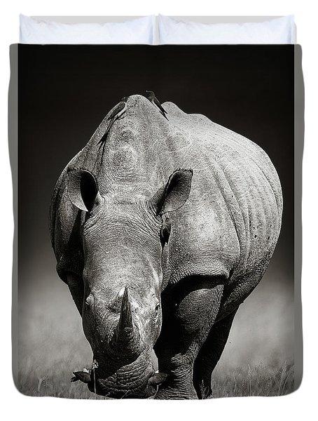White Rhinoceros  In Due-tone Duvet Cover