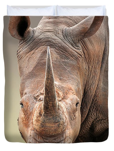White Rhinoceros Portrait Duvet Cover