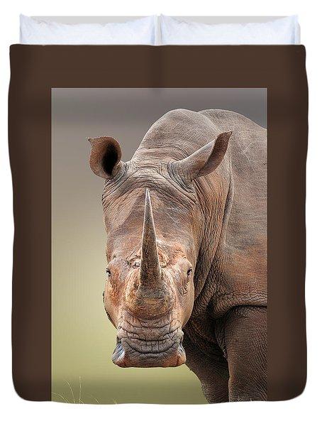 White Rhinoceros Portrait Duvet Cover
