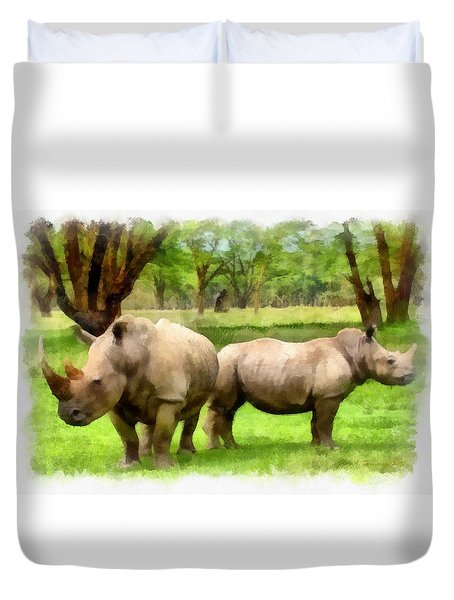 Duvet Cover featuring the painting White Rhinos by Maciek Froncisz