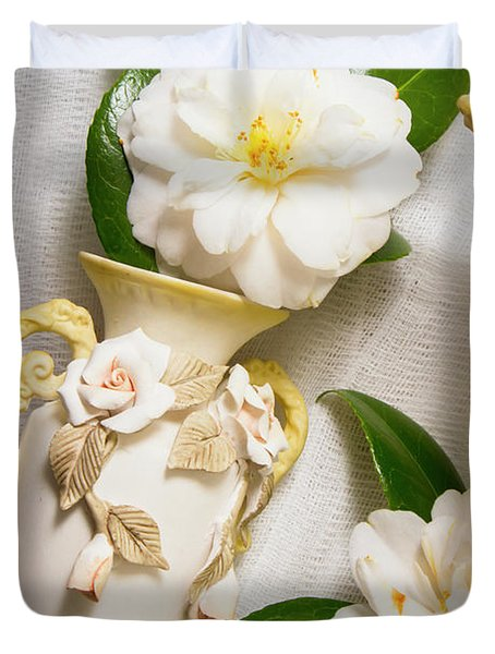 White Rhododendron Funeral Flowers Duvet Cover
