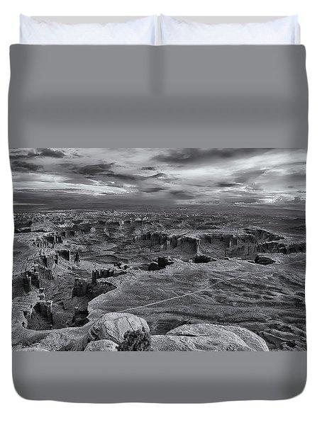 White Rim Overlook Monochrome Duvet Cover