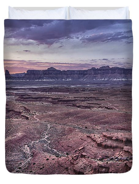 Duvet Cover featuring the photograph White Rim Trail Vista by Adam Romanowicz