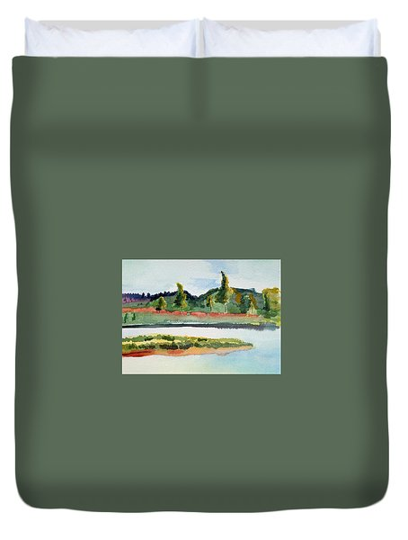 White River At Royalton After Edward Hopper Duvet Cover