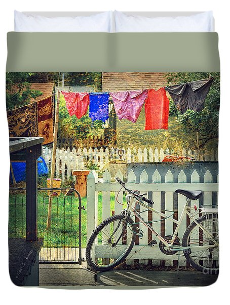 Duvet Cover featuring the photograph White River Bicycle by Craig J Satterlee