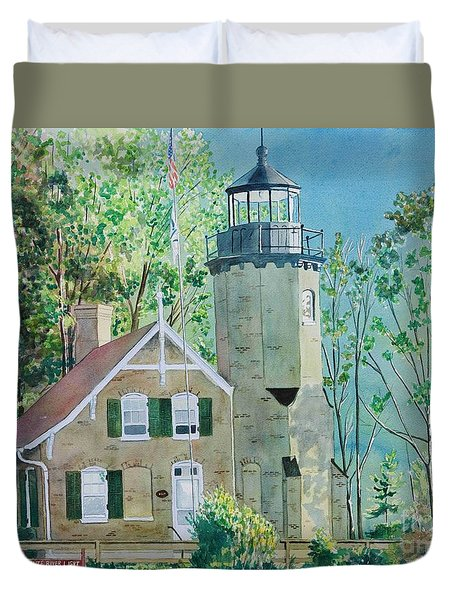 Duvet Cover featuring the painting White River Light by LeAnne Sowa