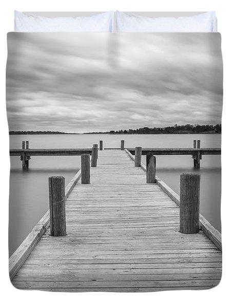 White Rock Lake Pier Black And White Duvet Cover