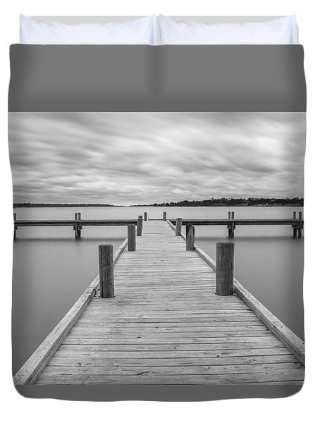 White Rock Lake Pier Black And White Duvet Cover