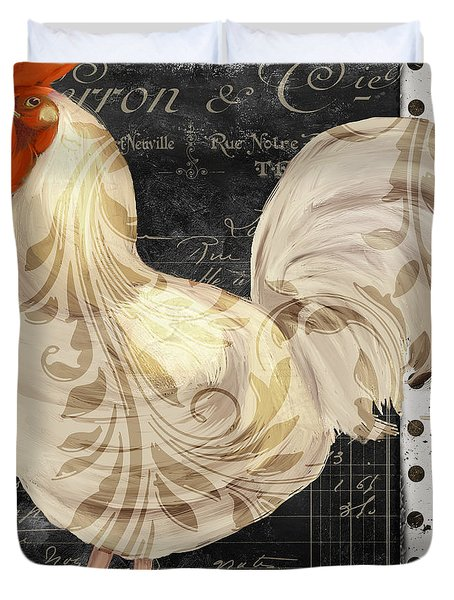White Rooster Cafe II Duvet Cover by Mindy Sommers