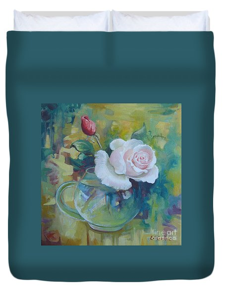 Duvet Cover featuring the painting White Rose by Elena Oleniuc