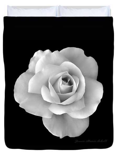 White Rose Flower In Black And White Duvet Cover