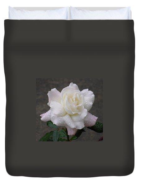 White Rose In Rain - 3 Duvet Cover