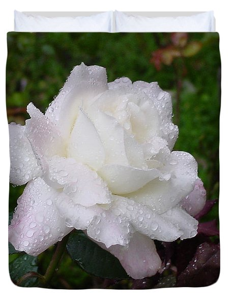 White Rose In Rain Duvet Cover by Shirley Heyn