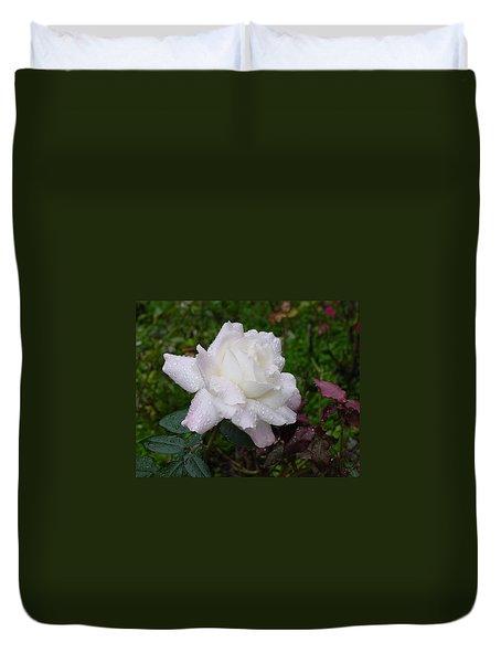 White Rose In Rain Duvet Cover