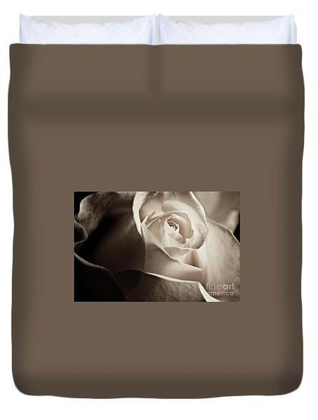 Duvet Cover featuring the photograph White Rose In Sepia 2 by Micah May