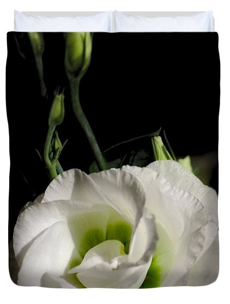 White Rose On Black Duvet Cover