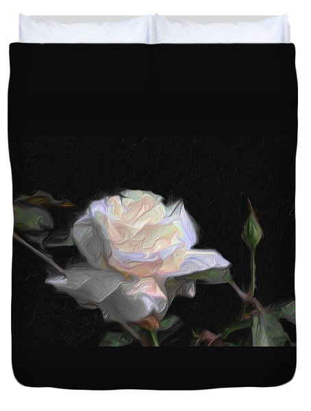 White Rose Painting Duvet Cover by Don  Wright