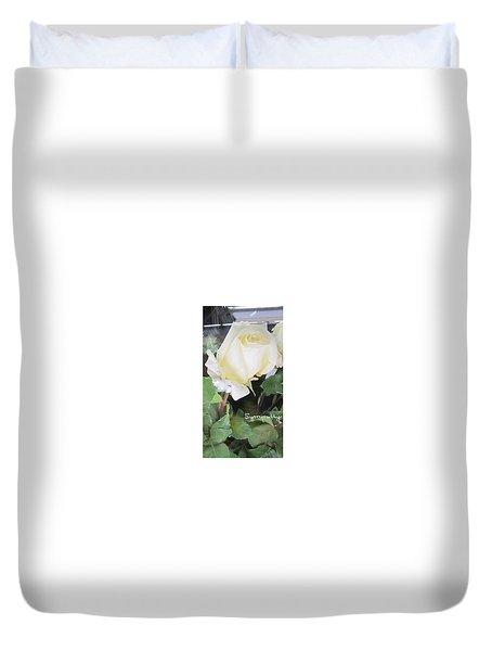 White Rose - Sympathy Card Duvet Cover
