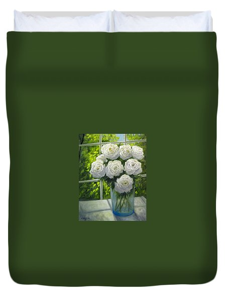 White Roses Duvet Cover