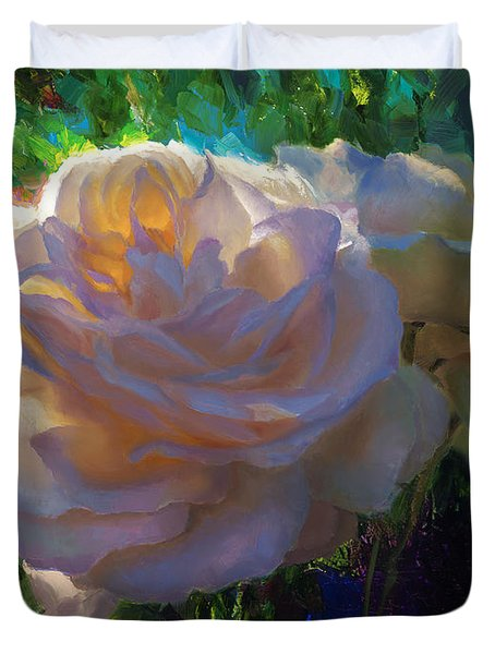 White Roses In The Garden - Backlit Flowers - Summer Rose Duvet Cover