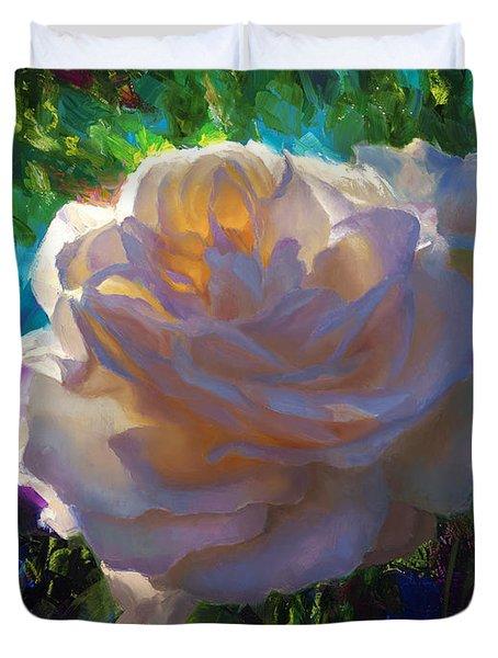 White Roses In The Garden - Backlit Flowers - Summer Rose Duvet Cover
