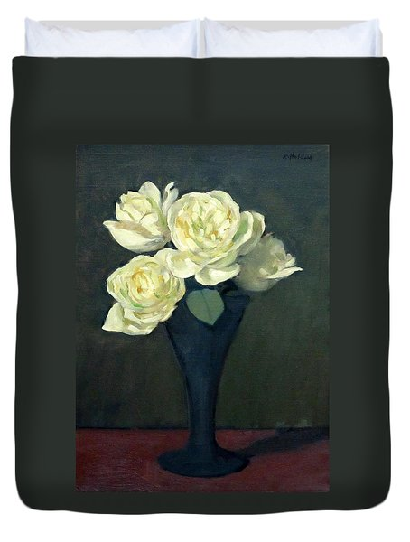 Four White Roses In Trumpet Vase Duvet Cover