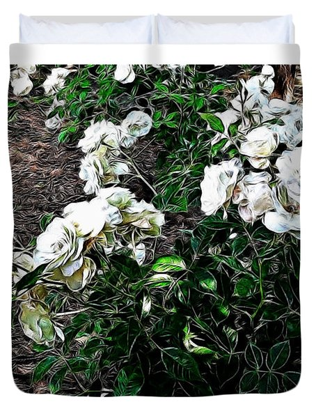 Duvet Cover featuring the photograph White Roses by Joan  Minchak