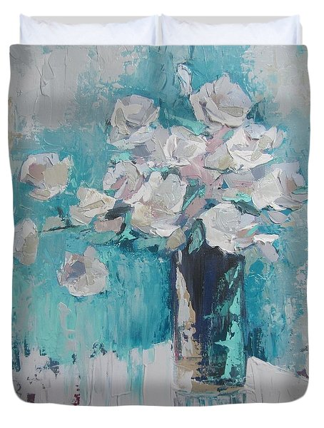 White Roses Palette Knife Acrylic Painting Duvet Cover by Chris Hobel