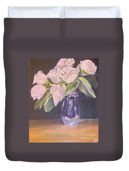 Duvet Cover featuring the painting White Roses by Saundra Johnson
