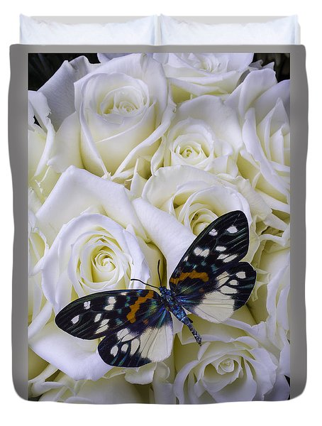 White Roses With Colorful Butterfly Duvet Cover