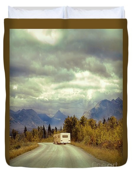 Duvet Cover featuring the photograph White Rv In Montana by Jill Battaglia