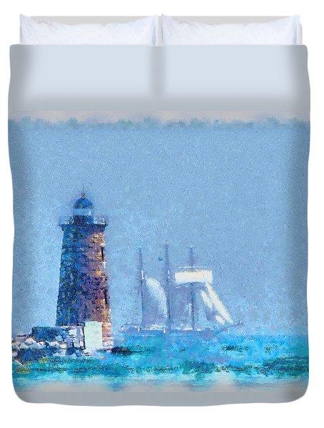 White Sail Of Schooner At Whaleback Light Duvet Cover by Jeff Folger