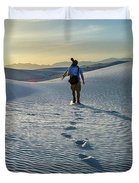 White Sands Hiker Duvet Cover