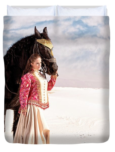White Sands Horse And Rider #2a Duvet Cover